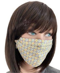 Masque Barrière Tissu Etoile sur fond gris