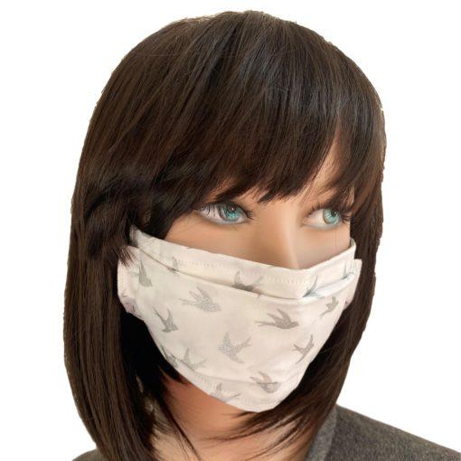 Masque Barrière Tissu Hirondelles argent sur fond blanc