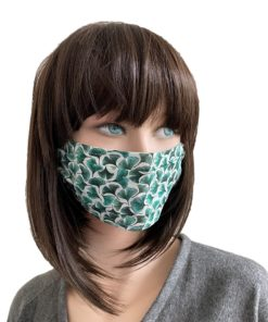 Masque barrière Popeline rainbow vert bleu