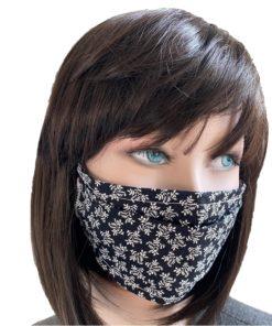 Masque Tissu Feuille de Laurier sur fond noir